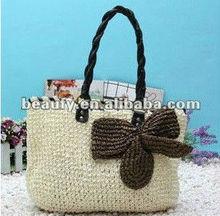 natural paper straw crochet shoulder bags for women
