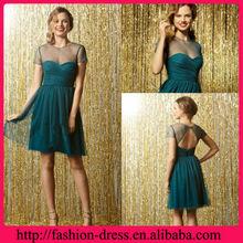 2013 Sweetheart Neckline Tulle Short Sleeve Dark Green Bridesmaid Dress Knee Length