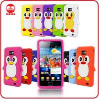 Fancy Soft Rubber Skin Gel Penguin Animal Stylish 3D Case for Samsung Galaxy S2