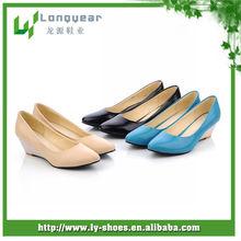 2013 summer black pu ladies wedge heel for shoe making