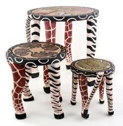 Safari Wooden Hand painted Animal Stools