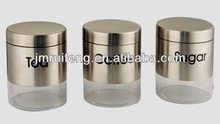 Set of 3 - Storage Jars Canister Set Glass Brushed Stainless Stee
