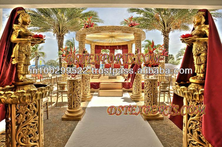 See larger image INDIAN WEDDING GOLDEN CARVING MANDAP