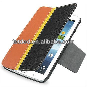 TETDED Premium Leather Case for Samsung Galaxy Tab 3 7.0 P3200 -- Bellac (Hercules II: Black / Orange)