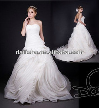 latest hand make organza flora ball gown with tail bridal wedding dress 2014