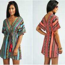 ladies latest v neck line raglan sleeve design aztec printed fancy tunic tops