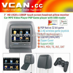 "7"" car HD 1920*1080P touch screen headrest+IR/FM function monitor MP-715H"
