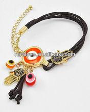 gold plated metal enamel evil eye&hamsa bracelet
