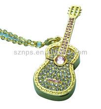 Jewel guitar shape USB Flash for noble gift