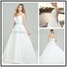 YWD10668 Elegant Spaghetti strap V-neck Ball gown champel train Pleated organza beaded belt sexy open back wedding dress