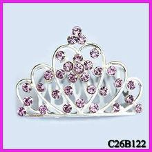 Silver heart crystal crown hair comb wedding crown hair comb