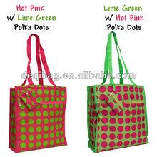 Small Medium Size Polka Dot Print Microfiber Shopping Tote handle Bag Coin Purse