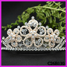 Sparkling crystal tiara crown hair comb pave pearl flower