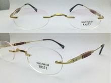 eye glasses naturally rimless high quality elliptic 100% titanium eyeglasses frames KH573