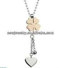 Blue lucky four leaf heart shape cheap titanium steel beaded chain pendant necklace