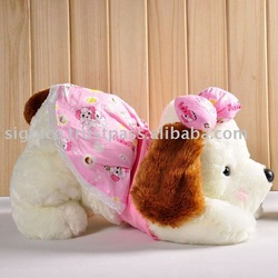 Plush soft pink pug dog toy wearing a long dress with high 25CM 37CM
