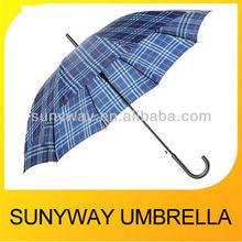 Plaed Stick Rain Umbrella Wooden Handle