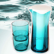 Small MOQ wholesale Plastic 3 pcs/set top quality ice stick clear plastic beverage dispenser with 2 cups