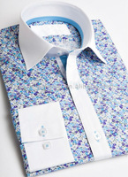 Qiao Rui Men's white collar fake tie floral casual shirt