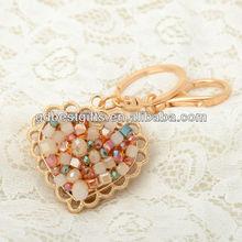 High quality peach heart 3d crystal keychain