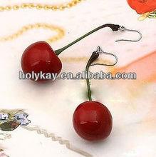 Fresh red cherry dangle earrings,Fishhook sweety ear accessories,New arrival fruit style jewelry