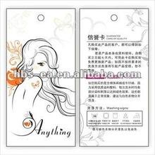 Customized women garment hangtag 2012