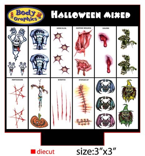 Temporary Halloween Tattoos See larger image Temporary Halloween Tattoos