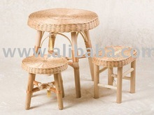 Wicker Furniture Set - Table with Benches