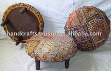 Decorative fabric wooden ottoman