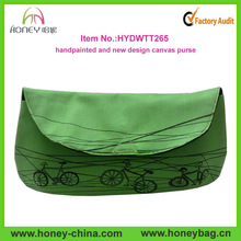 hot sale green clutch bag handpainted canvas woman clutch bag
