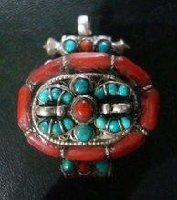 Tibetan Ghau Prayer Box Coral Silver Pendant Nepal