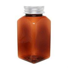 Medicine Bottle Aluminium Cap 200ml Square Brown