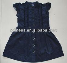 100% algodón de pana de la marina de guerra azul invierno de las muchachas vestidos