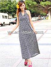Manufacture South Korea ice silk dot halter dress Bohemian dress seaside resort 6897 #