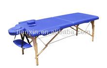 Blue wood leg folding massage bed
