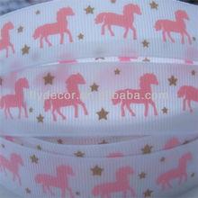 """7/8"""" Horse Printed Grosgrain Ribbon Custom Printed Grosgrain Ribbon"""
