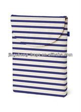 longitudinal stripes canvas shopping bag