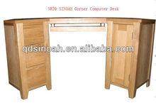 solid oak 1 door 3 drawer computer desk/wooden computer desk