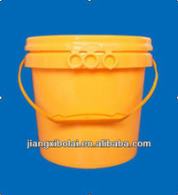 5L yellow plastic barrel with lid and handle