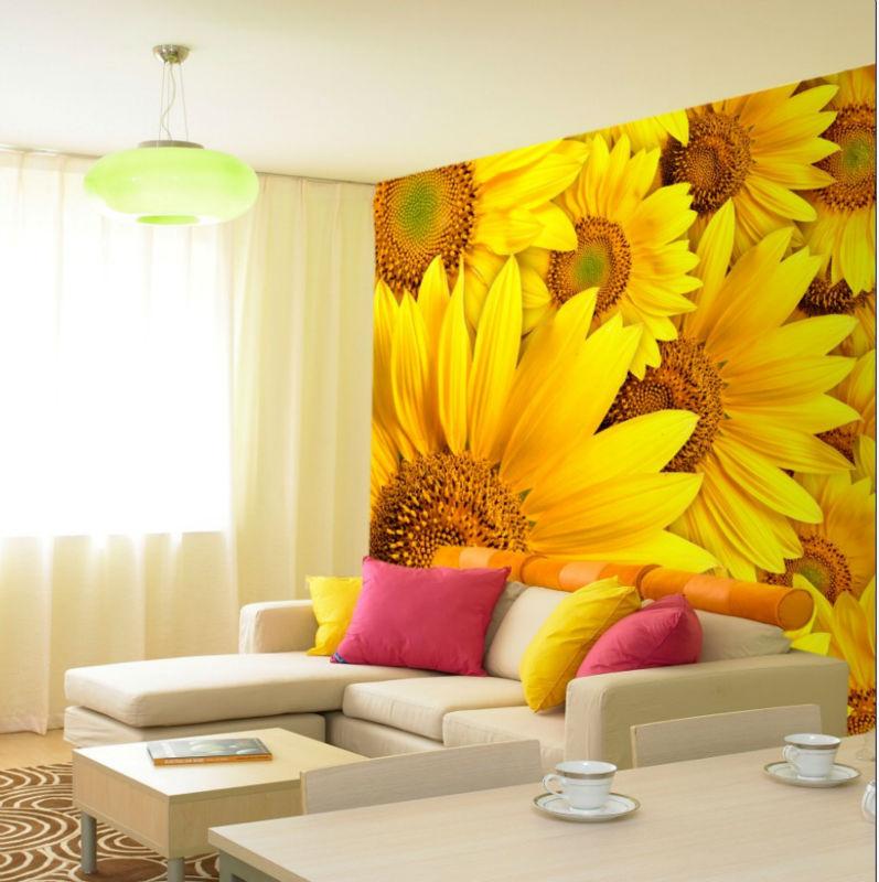 Sunflower bathroom - Big Yellow Sunflower Design Wallpaper Wall Mural