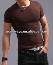 new model reddish brown color t-shirt,organic cotton t shirt