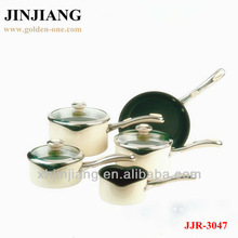 8pcs cream white leaking cover Cookware with glass LId