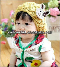 Hot Selling Kids Winter Woolen Yarn Knitted Baby Cap /Newborn Baby Cats And Hats With Rabbit