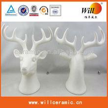 ceramic white David's deer decoration,deer head decoration