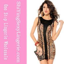 Brown Leopard Print Black Mesh Accent Luxe Dress
