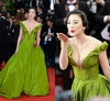 LEV-010 The 66th Annual Cannes Film Festival Red Carpet Zhang Yuqi Green Off Shoulder Deep V-neck Sexy Celebrity Dress 2013