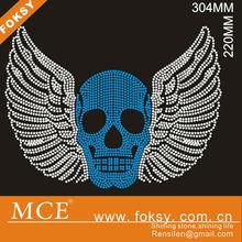 bule skull with beautiful wing custom hotfix motif,strass transfer