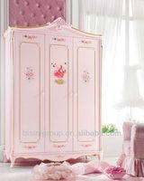 Luxury princess wardrobe,hand carved wardrobe, bisini lovely and fashion bedroom furniture (BF07-70151)