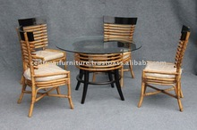 DT BRN RT White Round Tube Chair and Coffee Table Rattan Furniture