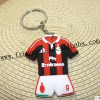 custom promotion football/basketball shirt rubber key chain for fans